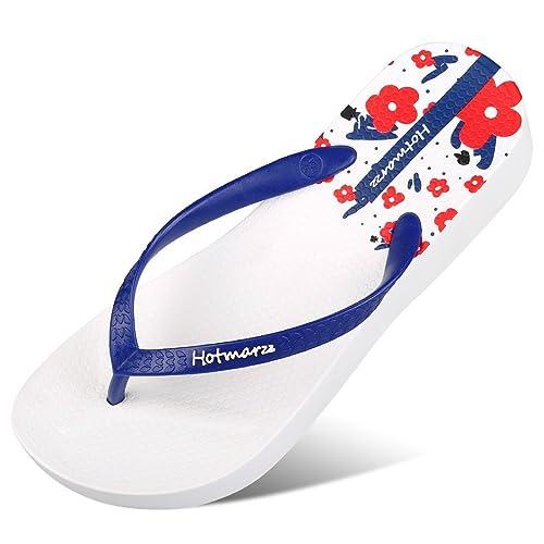 4479af7ed26659 Hotmarzz Women s Floral Pattern Wedge Flip Flops Platform Sandals High Heel  Slippers Size 4 B(