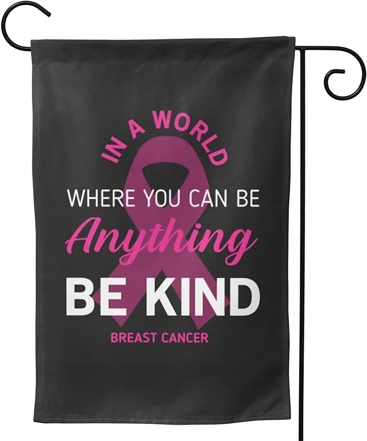 Breast Cancer Pink Ribbon Awareness Garden Flag, Double Sided Yard Lawn Flag Summer Outside Garden Flags 12.5 X 18 Inch