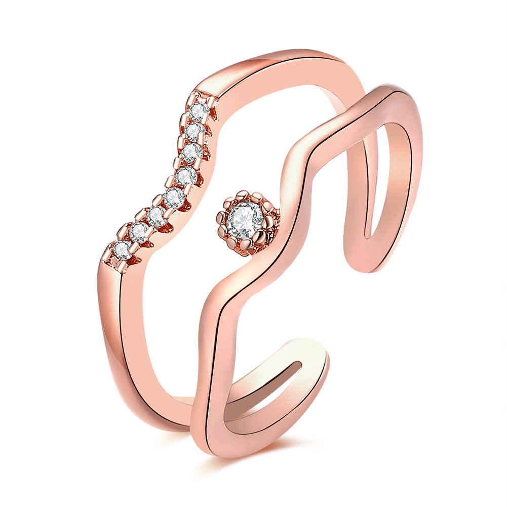 Ekavtor 2 Lines Zircon Copper Open Adjustable Ring