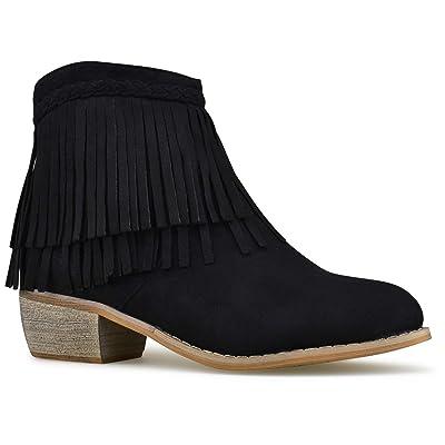 Premier Standard - Casual Western Fringe Cowboy Booties- Low Heel Casual Comfortable Walking Booties, TPS Booties-01Eejnam Black Size 5.5 | Ankle & Bootie