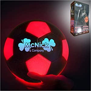 MCNICK & COMPANY Glow in The Dark Soccer Ball - LED Light Up Outdoor Soccer Ball - 100 Hour Battery Life