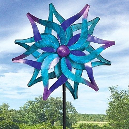 Bits and Pieces - Blue Delphinium Wind Spinner - Decorative Kinetic Wind Mill - Unique Outdoor Lawn and Garden Décor, Lawn Ornament (Ornament Spinner Wind)