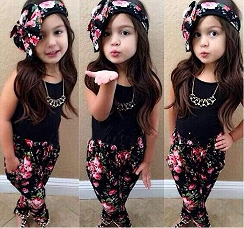 Baby Girls Floral Print T-shirt + Pants + Hair Band Set Kids Summer Outfits 3PCS 6/7T Black
