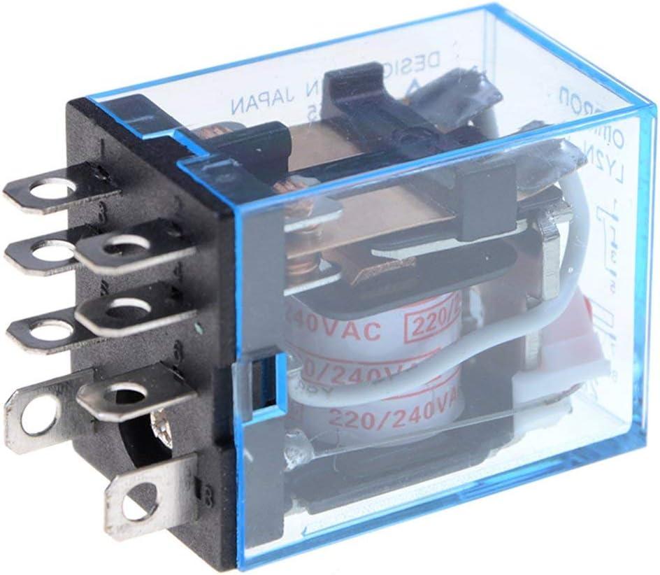 10 piezas Durable 12v 24v DC 110v 220v AC Bobina Rel/é de potencia LY2NJ DPDT Base de enchufe con 8 pines HH62P JQX-13F OK Negro