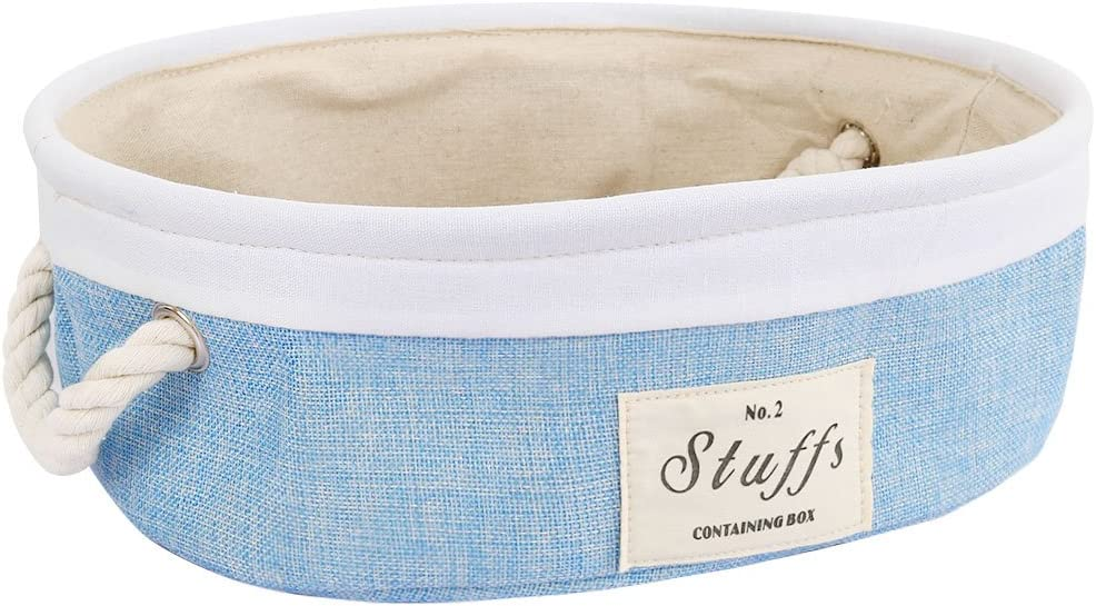 uxcell Storage Baskets with Cotton Handles Foldable Storage Toy Bins Laundry Clothes Towel Box Organizer W Drawstring Closure for Home Shelves Closet Light Blue 14.2