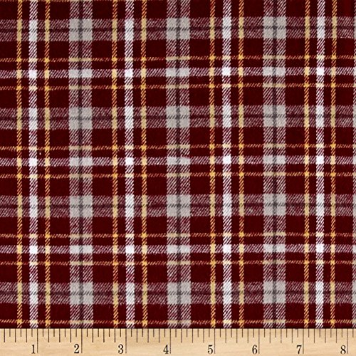 Richland Textiles Yarn Dyed Flannel Plaid Burgundy Fabric By The Yard (Oz Flannel 5 Shirt)