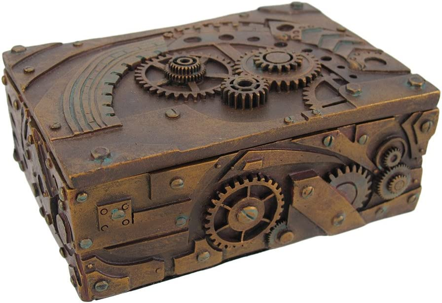 PTC 5 Inch Steampunk Mechanical Inspired Jewelry/Trinket Box Figurine