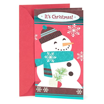hallmark christmas gift card or money holder happy snowman - Christmas Card Money Holder