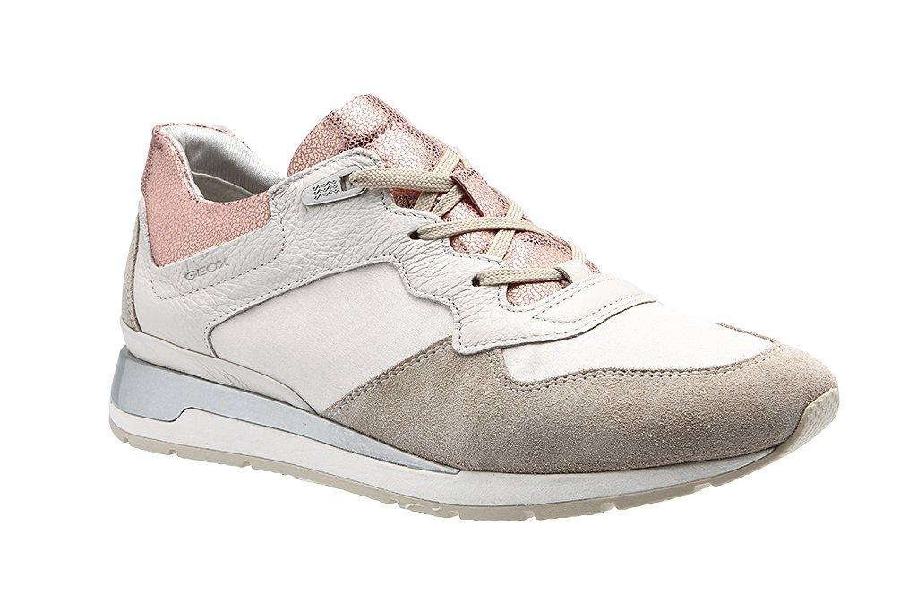 Geox D62n1b-0ak12/C0716 - Zapatos de cordones para mujer 36 EU|Blanco-rosa-beige