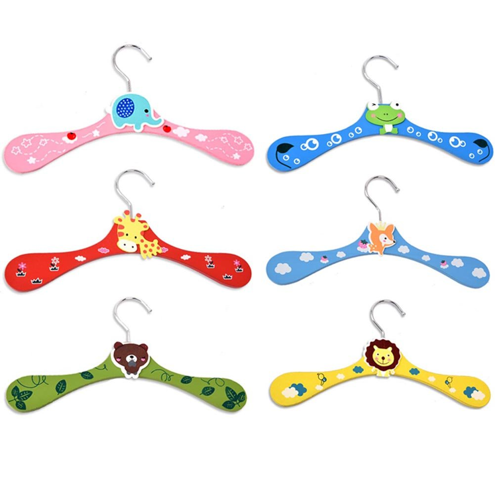 SUNONE11 Random 6PCS Kids Baby Wardrobe Animal Cartoon Wood Children's Clothes Pants Hook Hanger for Babies Toys,11x0.27x4.72 inches