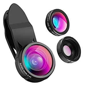 Criacr 3 in 1 Cell Phone Lens, 198° Fisheye Lens + 0.4X Wide Angle Lens + 15X Macro Lens, Clip on Cell Phone Lens Kits for iPhone 8/7/ 7 Plus/ 6/ 6s Plus/LG, HTC, Huawei, Samsung and Other Smartphone
