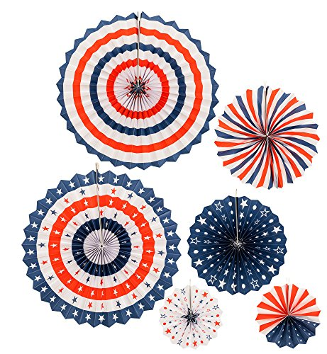 July 4th Decorations - 6 pack July 4th Patriotic Paper Party Fans Decoration - Hanging Party Decoration for Independence Day Party - Fan Patriotic Hand