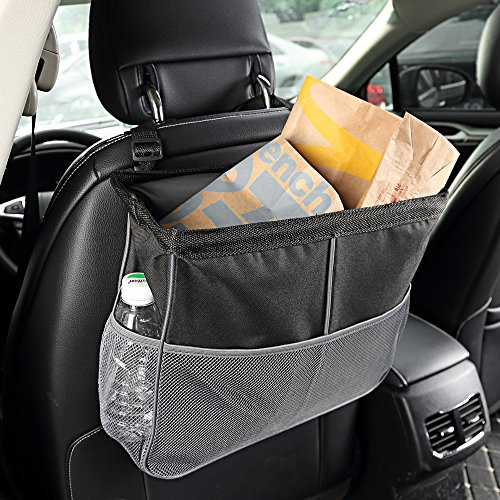 Kuelor Waterproof Car Trash Can, 3 Gallons Leakproof Vehicle Auto Universal Garbage Bag with 3 Mesh Pockets, Collapsible Storage Organizer, Black