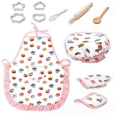 Teepao Juego de cocina de 11 piezas, juego de rol de cocina, juego de cocina para niños, delantales con disfraz y accesorios de cocina, juego de cocina para niños con delantal: Hogar