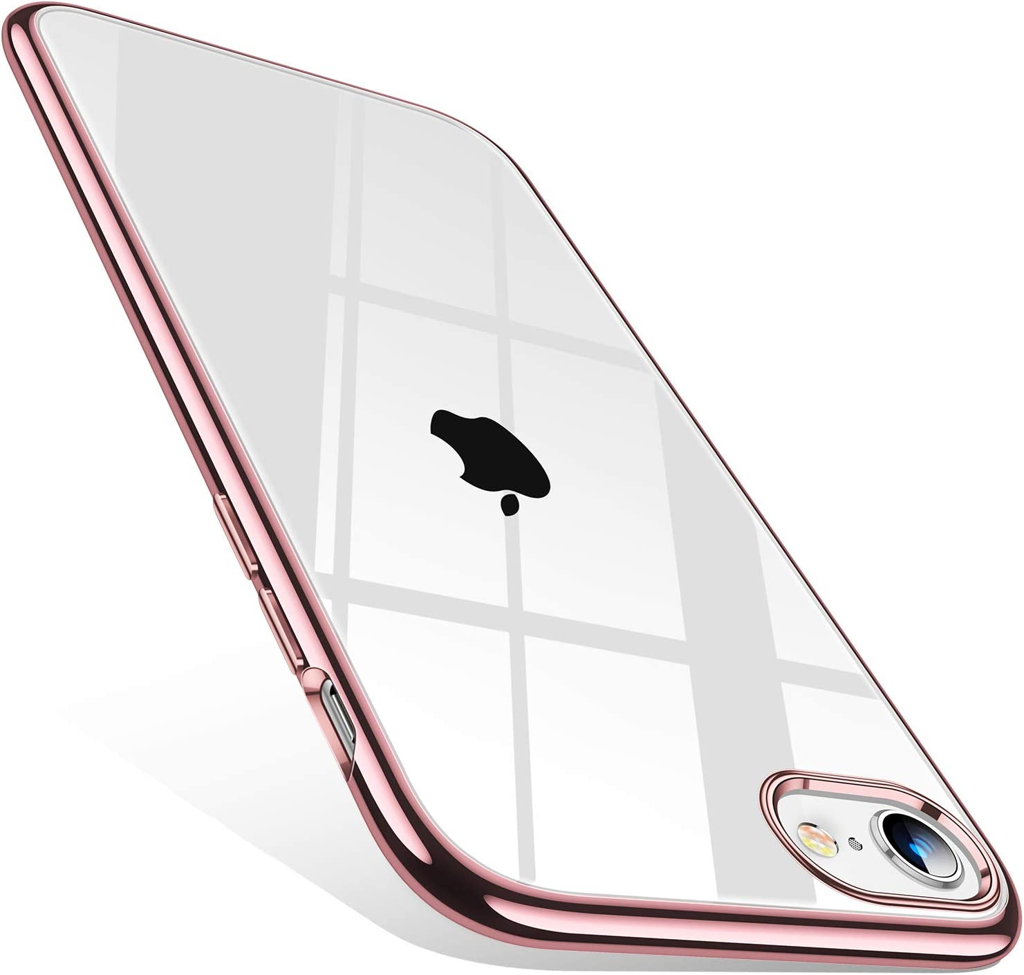 TORRAS Crystal Clear Compatible with iPhone SE 2020 Case/iPhone 8 Case [10X Anti-Yellowing] Ultra Slim Soft Shockproof Thin Phone Case for iPhone 7/8/SE 2020 (4.7 inch), Rose Gold