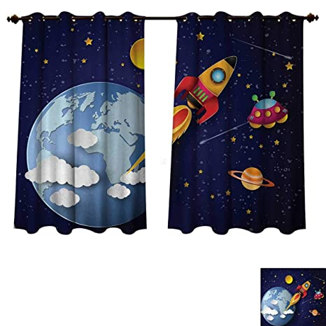 Amazon Com Anzhouqux Outer Space Bedroom Thermal Blackout Curtains