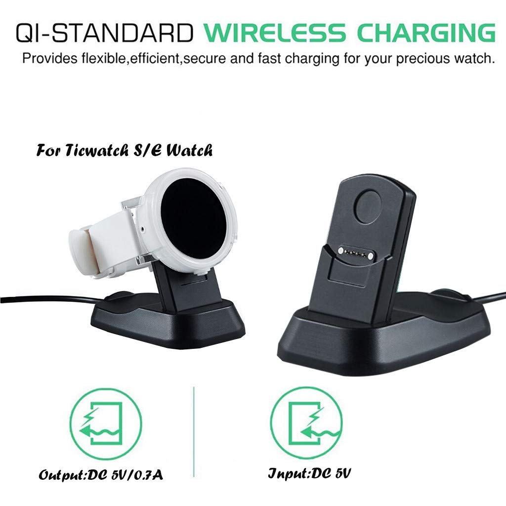 Huangou ❤ Charging Dock for Ticwatch E/S SmartWatch ❤ Smart Watch Charging Dock Charger Compatible for Ticwatch S/E Accessories (Free, Black) by Huangou (Image #2)