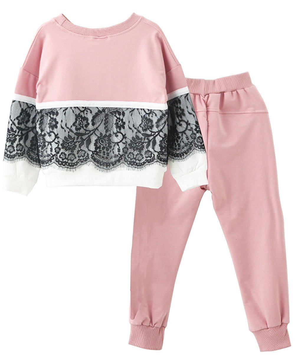 M RACLE Cute Little Girls' 2 Pieces Long Sleeve Top Pants Leggings Clothes Set Outfit (10-11 Years, Pink White) by M RACLE (Image #3)