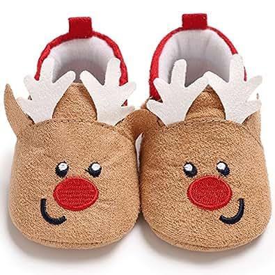 Amazon.com | Baby Boys Girls Christmas Santa Deer Booties ...