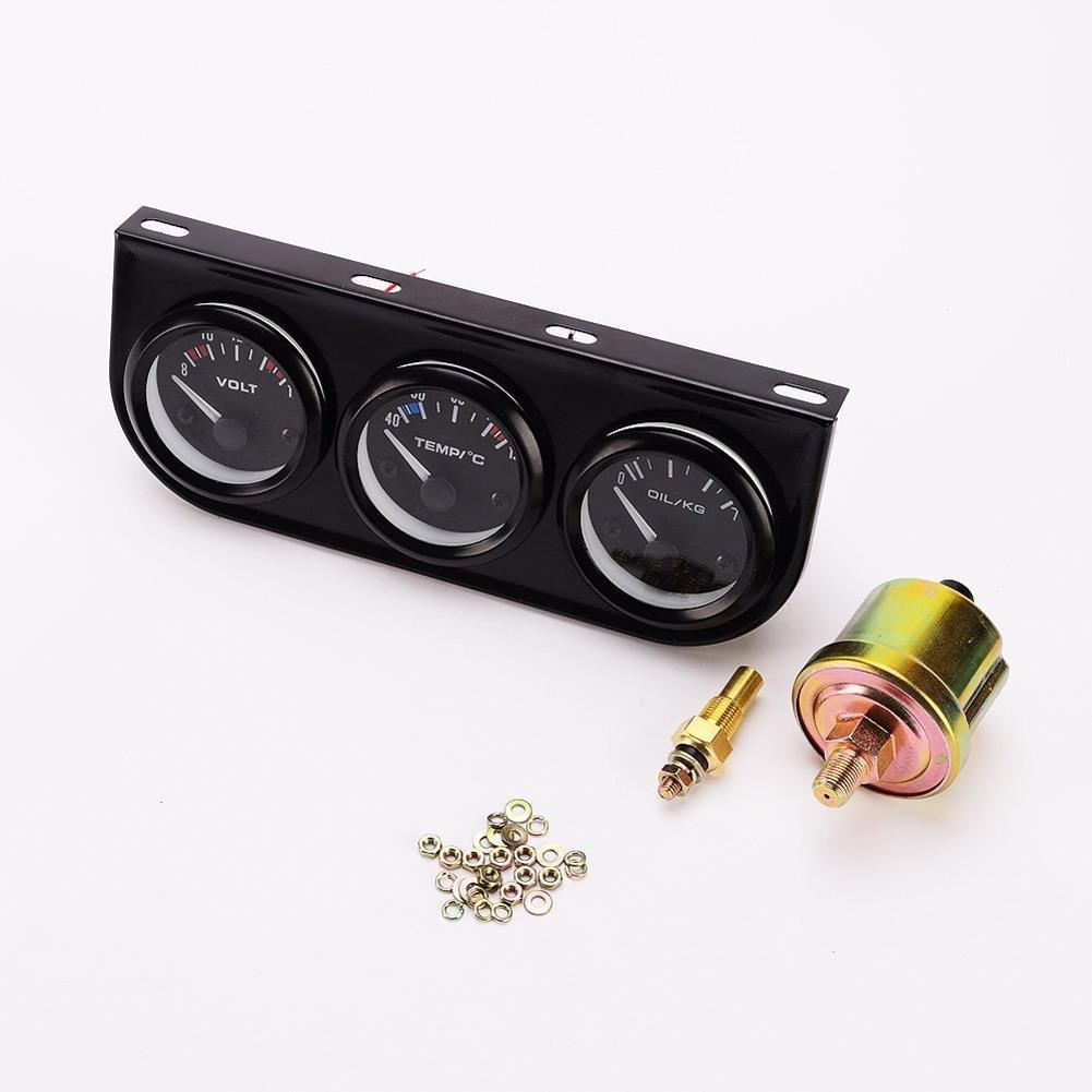 Onemoret 52 mm Triple Gauge Kit 3 in1 Voltmè tre Mè tre d'eau Tempé rature pression d'huile de voiture au mè tre