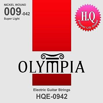 Olympia HQ juego de cuerdas para guitarra eléctrica de gran calibre 9-42W: Amazon.es: Instrumentos musicales