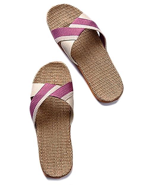 TY fashion Unisex Damen Herren Klassiche Sommer Gestreifte Slip On Flat Flachs Stroh Pantoffel