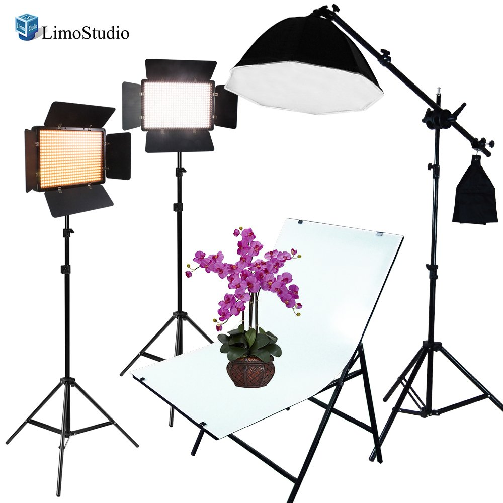 LimoStudio LED Barn Door Light Panel with Light Stand Tripod, Including Color Filter Gel, Foldable Studio Lighting Photo Shoot Table, Octagon Soft Box with Boom Arm Stand, Photo Studio, AGG2223 by LimoStudio
