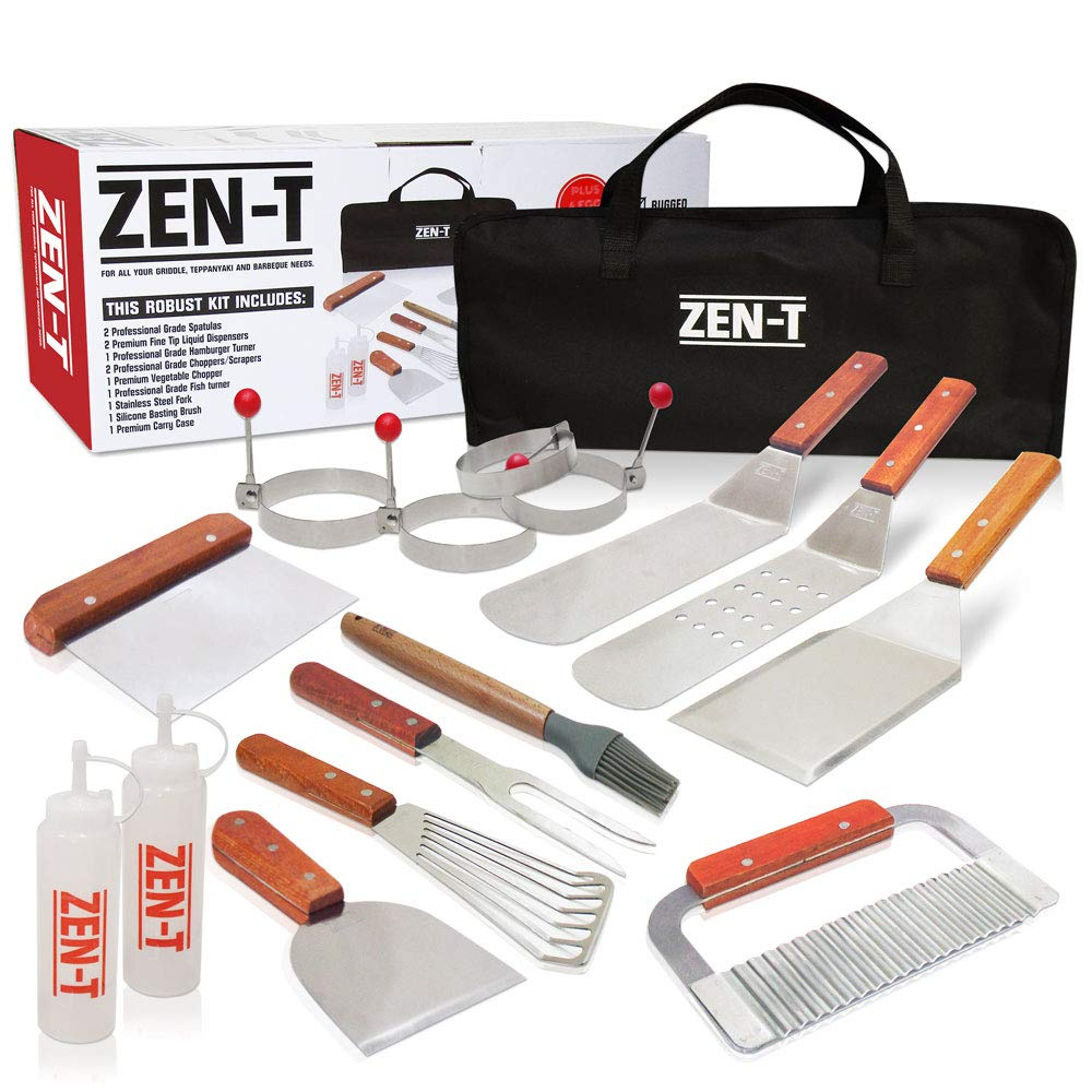 Zen-T - 16 Piece Grill Griddle BBQ Tool Kit - Heavy Duty Professional Grade Stainless Steel BBQ Tools - Perfect Grilling Utensils for All Your Grilling Needs – Outdoor and Indoor BBQ Accessories
