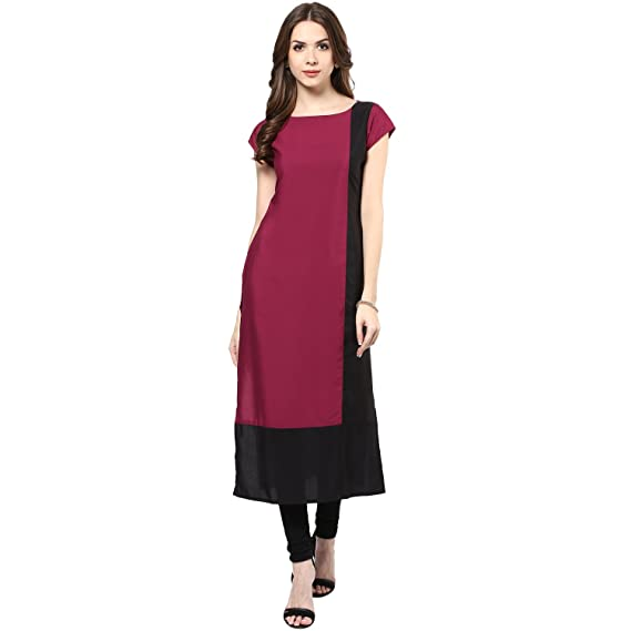 6b94a0335a9 IVES Women s Crepe Solid Casual Kurti (Purple)  Amazon.in  Clothing ...
