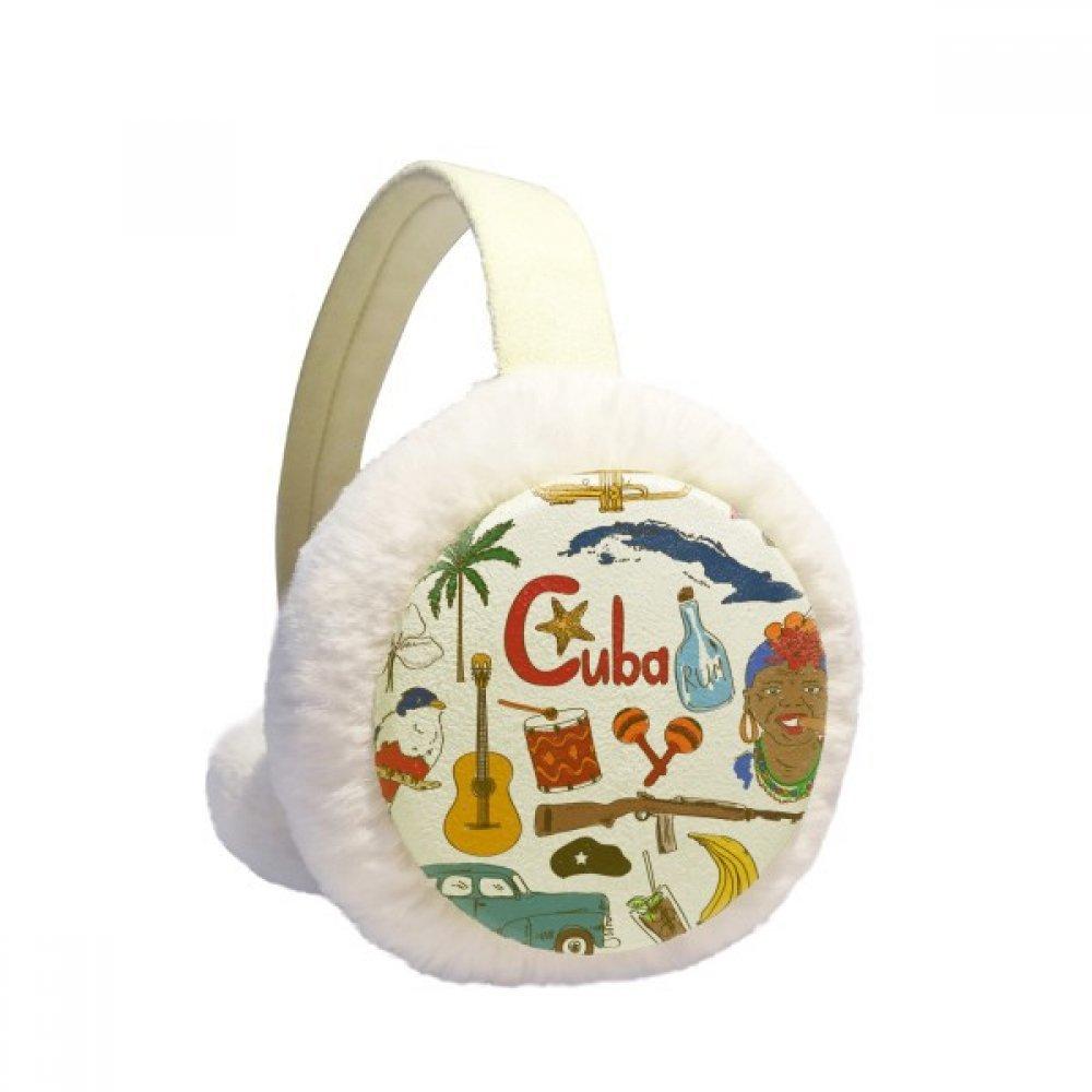 Cuba Landscap Animals National Flag Winter Earmuffs Ear Warmers Faux Fur Foldable Plush Outdoor Gift