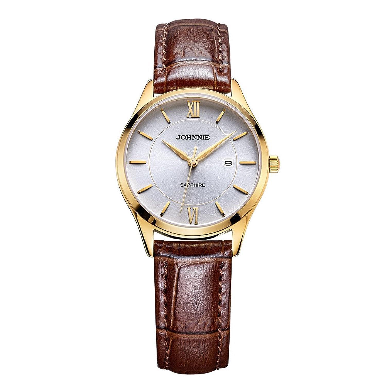 Johnnie Damen Klassische Quarz-Uhren mit Edelstahl Fall - braun Komfortable Echt Leder Gurt Handgelenk Band