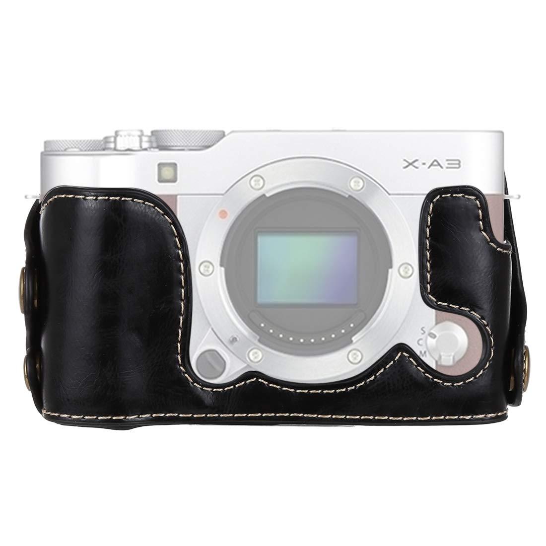 Dig 犬用骨 1/4インチねじ PUレザー カメラケースベース FUJIFILM X-A3/X-A10用, ブラック, DCA8790B  ブラック B07L944V4N
