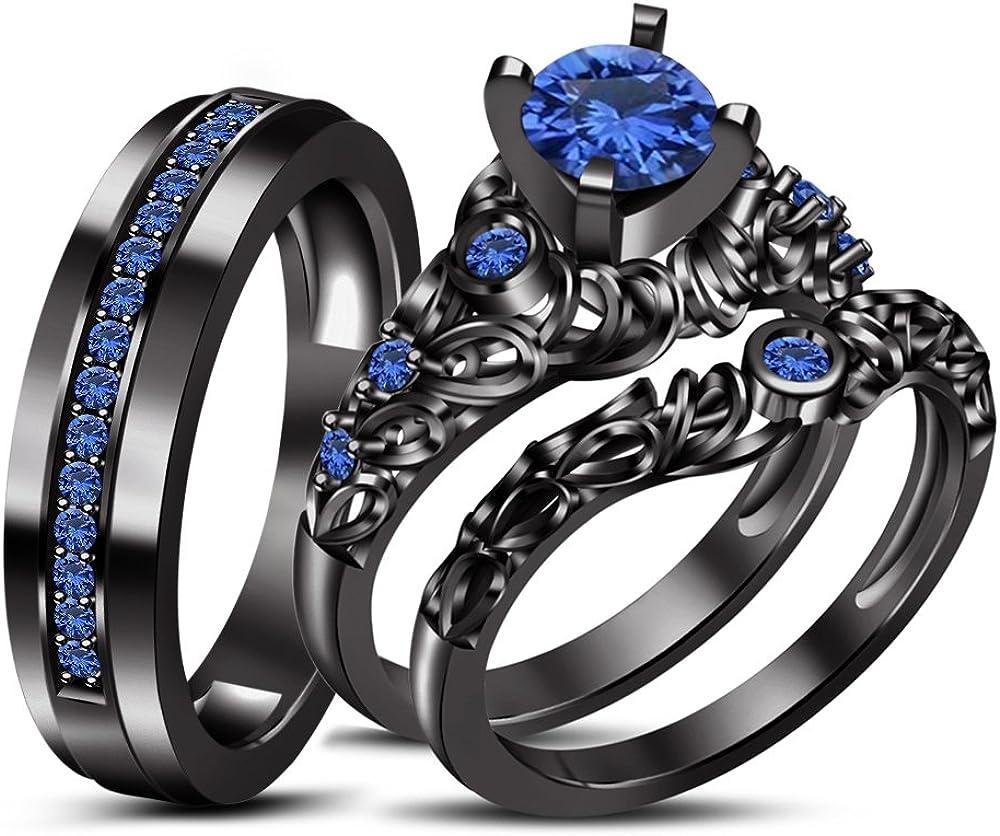 tvs-jewels lujoso negro chapado en rodio de plata de ley Trio ...
