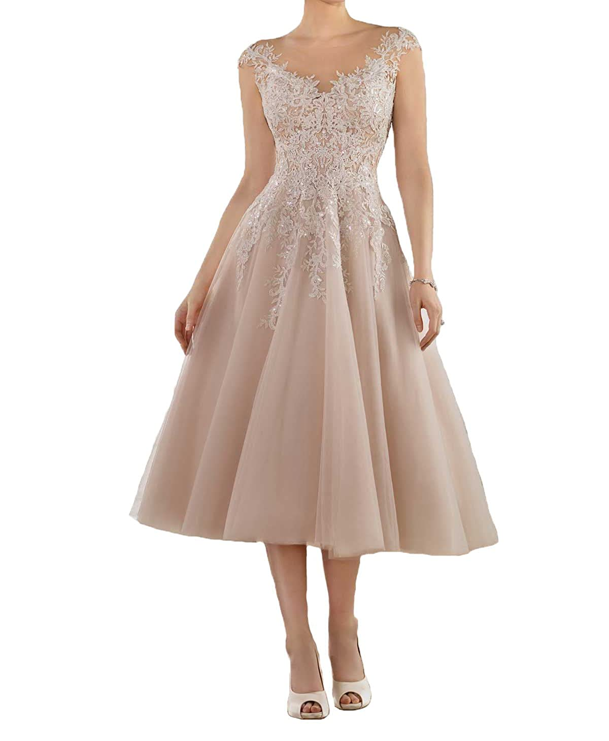 Graceprom Womens Ilusion Lace Appliques Tea Length Ball Gown