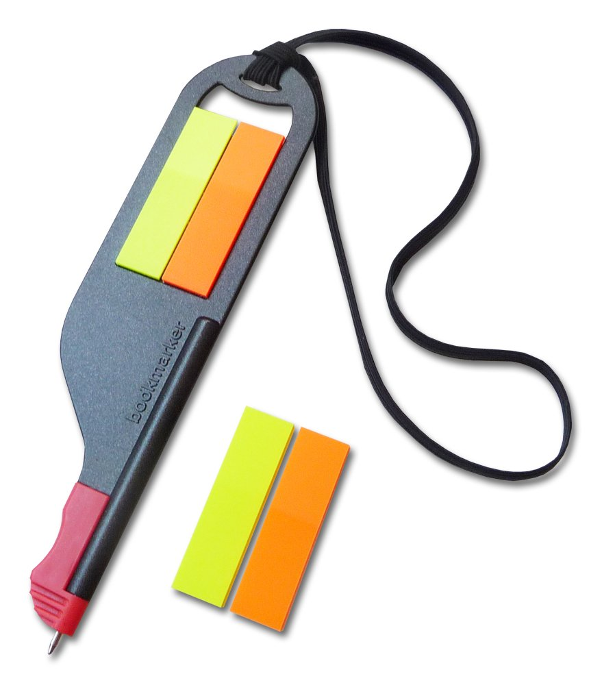 Everyday Innovations Bookmarker Flag Pen And Bookmark, 100 Self Stick Flags, Black (BM1)