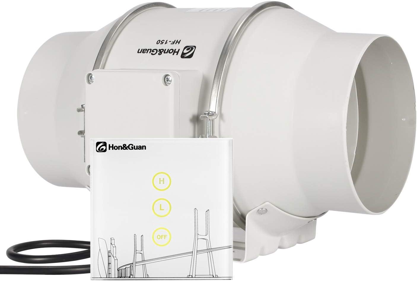 Hon&Guan Extractor de Aire en Línea com Flujo Mixto 150mm - Ventilador de Baño Silencioso con Controlador Inalámbrico (ø150mm Extractor de Aire)