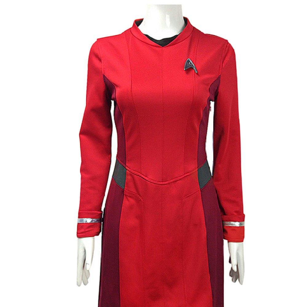 Nihiug Star Trek Star Trek 3 Beyond Star Cosplay Kostüm mit Abzeichen,ROT-M