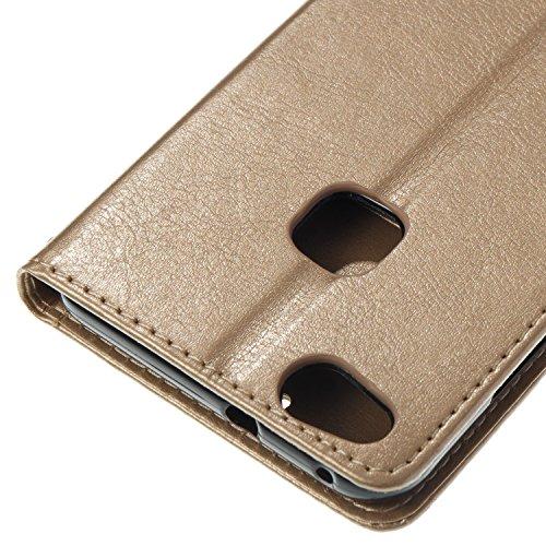 Para Huawei P10 Lite funda, (negro) Narcisos caja del teléfono de la PU patrón en relieve ,Función de Soporte Billetera con Tapa para Tarjetas correa de mano soporte para teléfono Oro