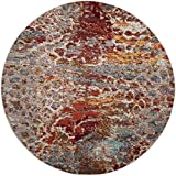 Safavieh Valencia Collection VAL218K Multicolored Distressed Abstract Watercolor Silky Polyester Round Area Rug (6'7 in Diameter)