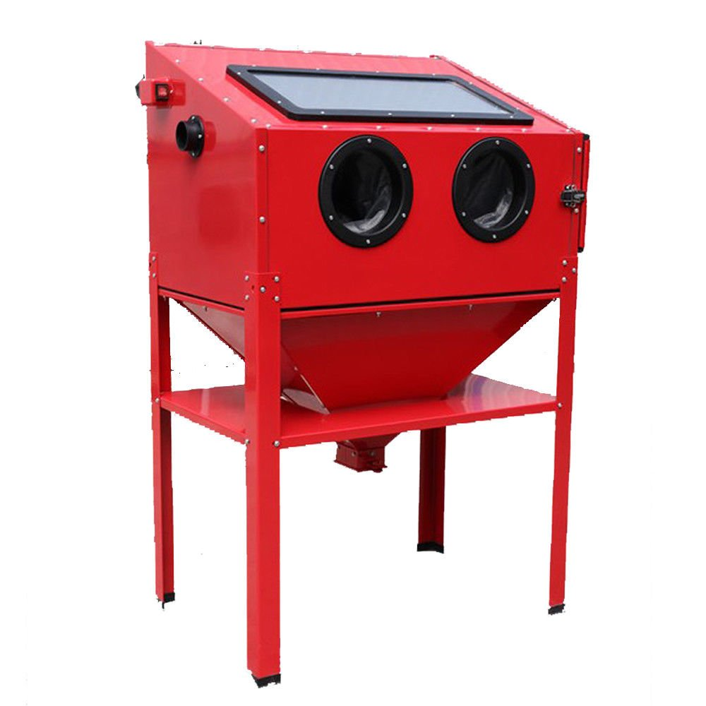 Sand Abrasive Cabinet w/Gun/nozzles/Gloves/Hose for Surface Finishing, Preparation, and Modification on a Variety of Materials Including prepping Metal Parts Paint, by GraceShop