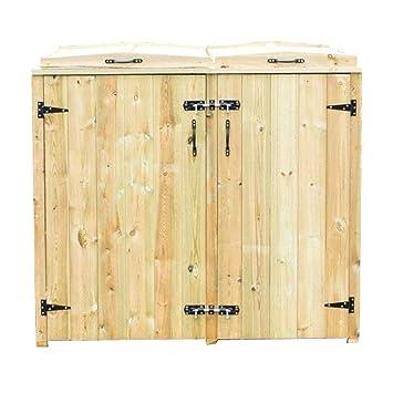 QUBOX - Arcón para 1 cubo de basura con ruedas y 2 cubos de reciclaje (madera): Amazon.es: Jardín