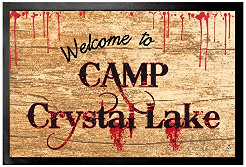 1art1 Friday 13th Door Mat Floor Mat - Welcome to Camp Crystal Lake (24 x 16 inches) -