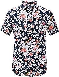 Men's Summer Floral Button Down Casual Short Sleeve Shirt