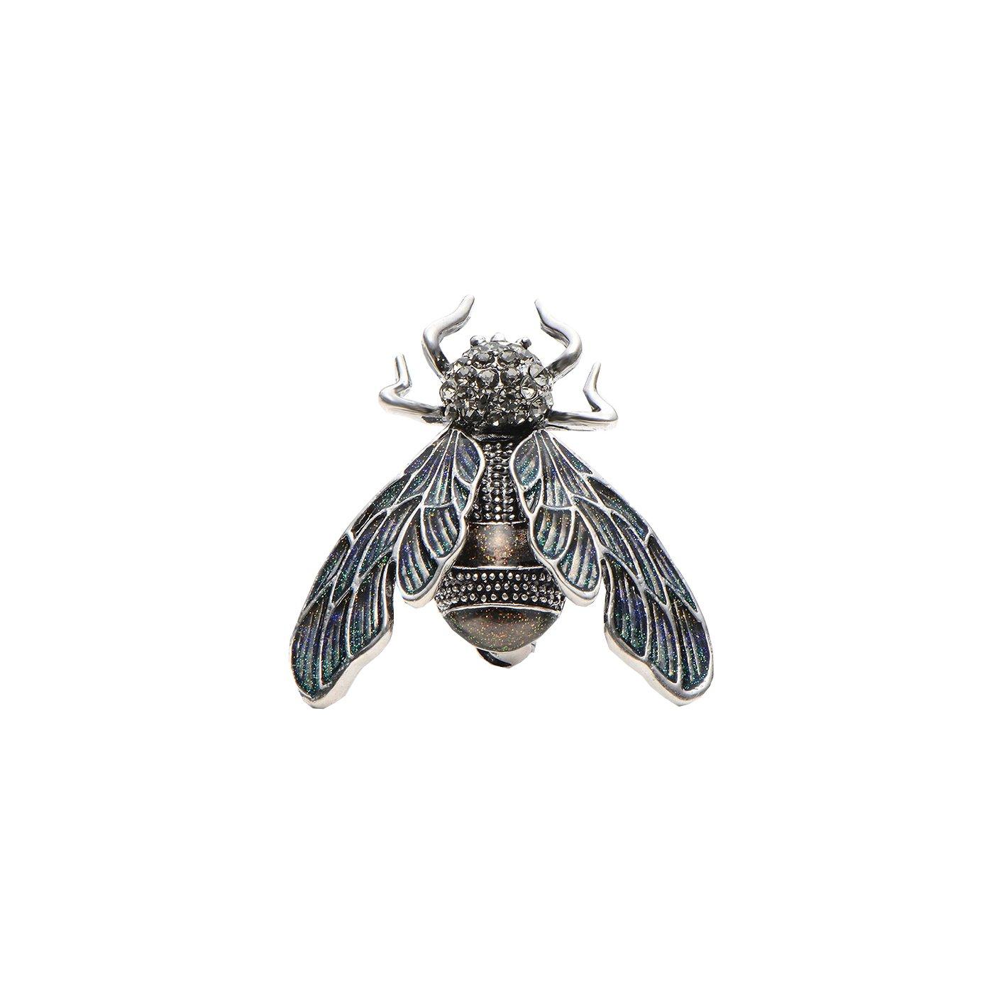 Rhinestone Alloy Silver Cicada Brooches For Women And Men Crystal Enamel Brooch