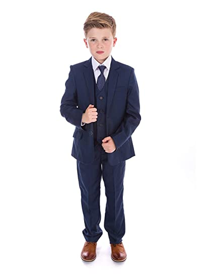 Amazon.com: Boys 3 Pieces Blue Formal Suits, Slim Fit Tuxedo ...