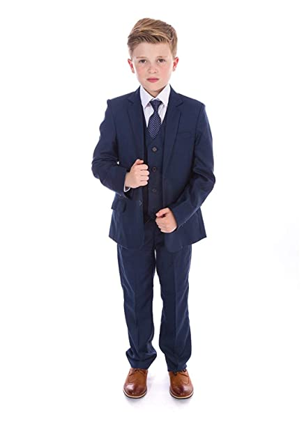 Amazon.com: Boys 3 Pieces Blue Formal Suits, Slim Fit Tuxedo ...