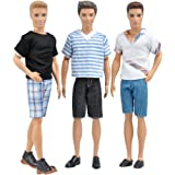 E-TING 3 Sets=6 Items Fashionistas Casual Wear T-shirt Pants Pack Summer Look for Ken Doll New Arrivals (Lot#A)