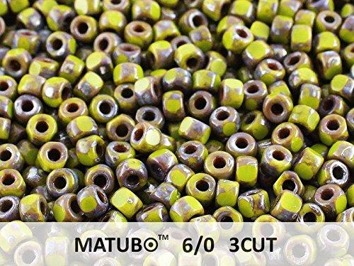 (10gr MATUBO 3CUT 6/0 Czech Glass Seed Beads, Opaque Green Picasso)