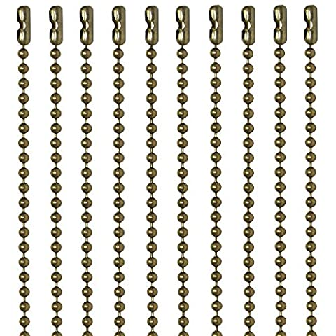 30 Inch Antique Brown Finish #3 Ball Chain Necklaces 10 Count (Chain Necklace Brass)