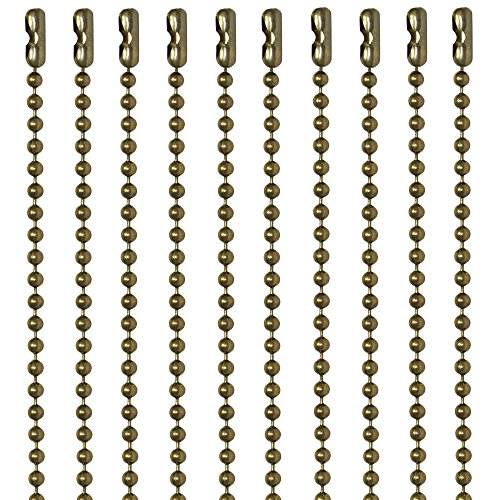 (30 Inch Antique Brown Finish Number 3 Ball Chain Necklaces 10 Count )